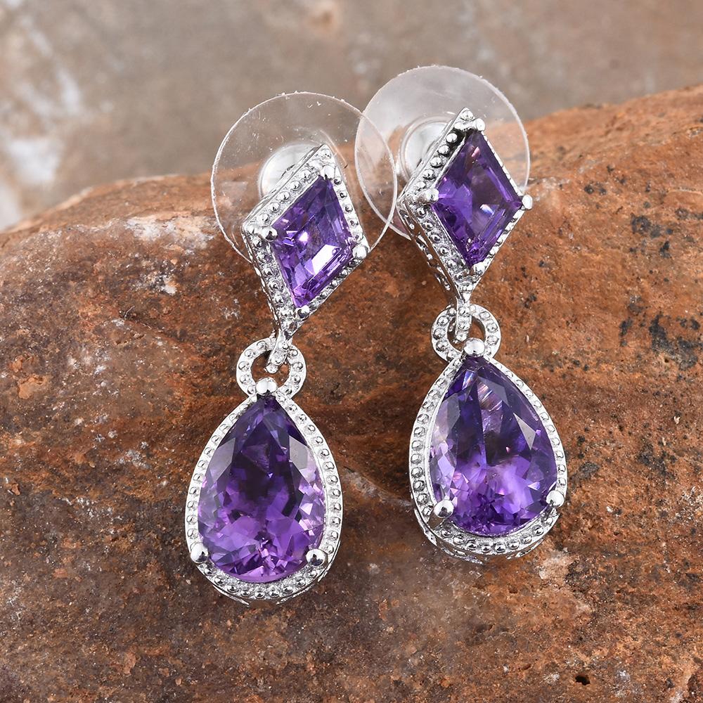 Amethyst earrings in sterling silver.
