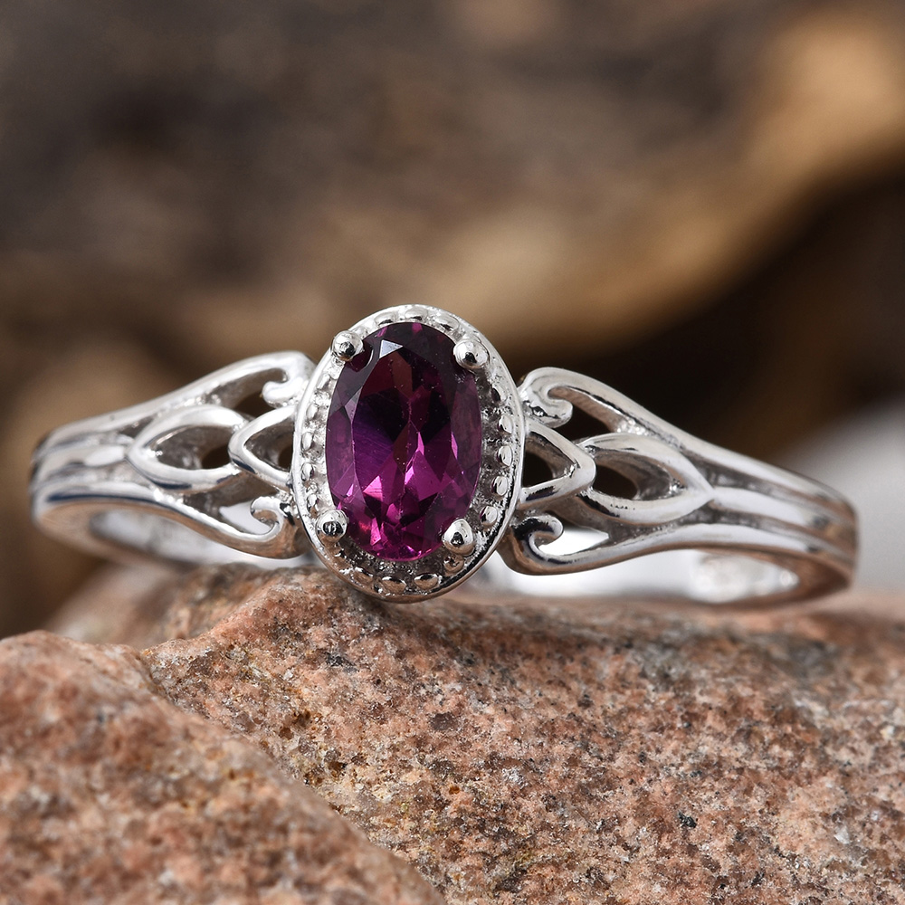 Purple garnet ring in sterling silver.