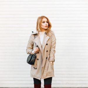 woman wearing beige trench coat