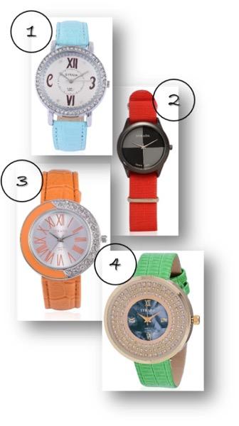 Seafoam band watch, red nylon watch, orange band watch and green band watch.