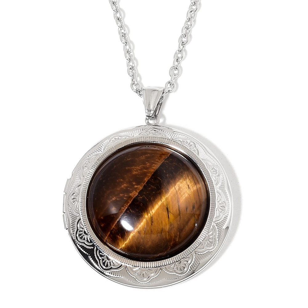 Closeup of tiger eye necklace.