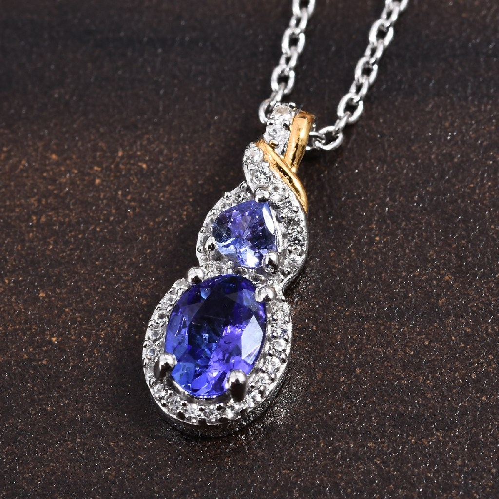 Tanzanite pendant in sterling silver with vermeil and platinum finish.