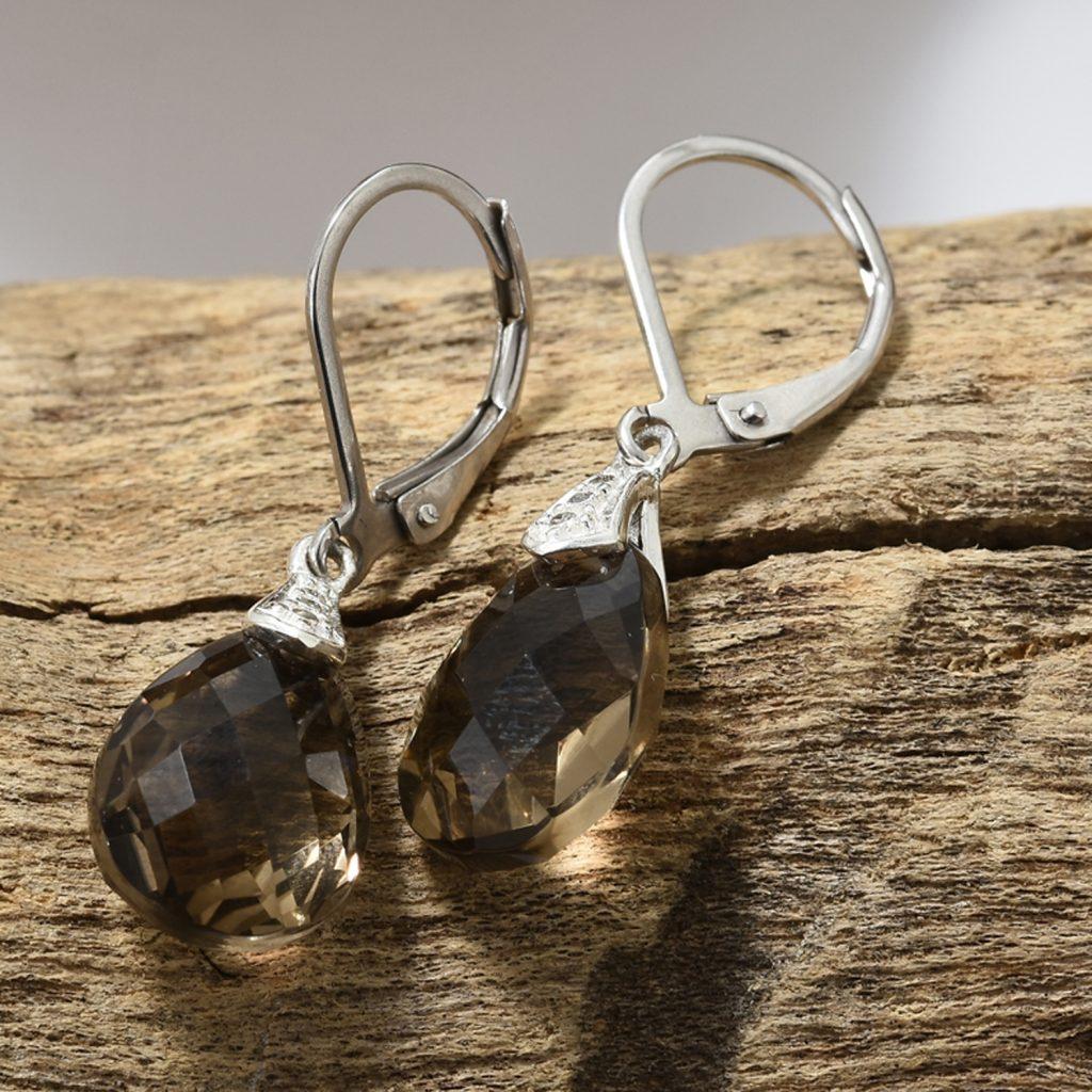 Closeup of smoky quartz earrings