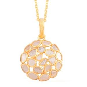 Polki diamond necklace set in gold.