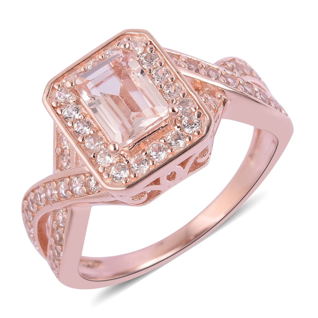 Closeup of marropino morganite ring against white background