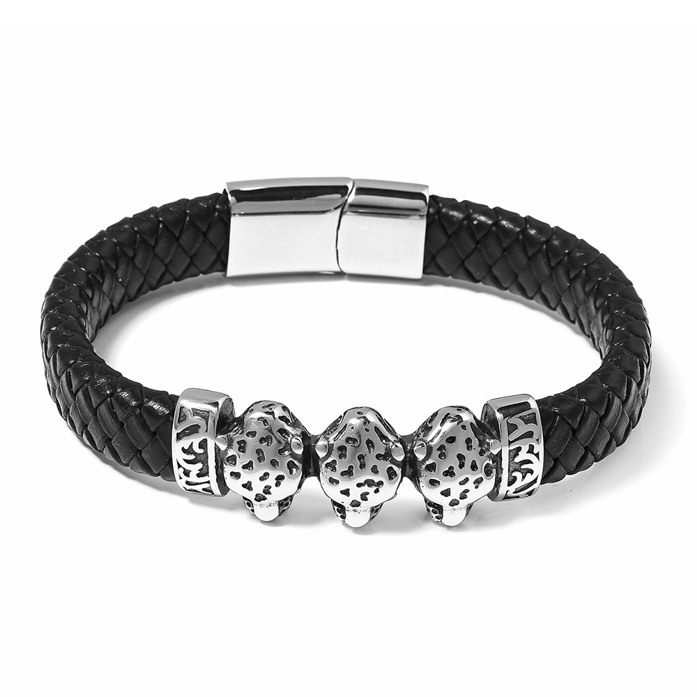 Black leather bracelet with leopard details