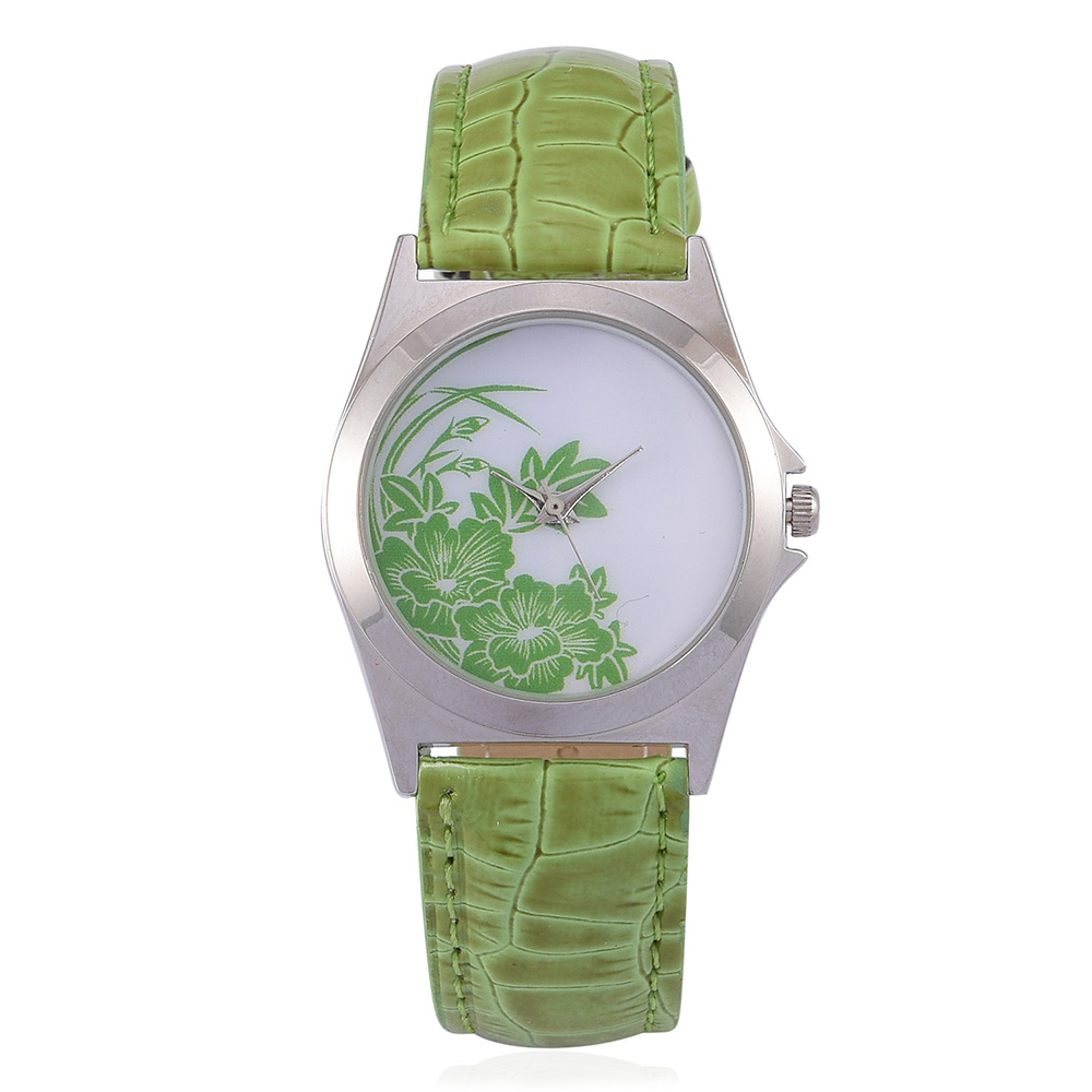 Lime green floral watch