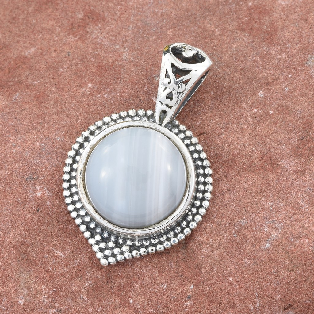 Artisan Crafted Banded Agate Pendant in Sterling Silver
