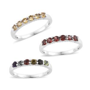 Set of stackable gemstone rings.