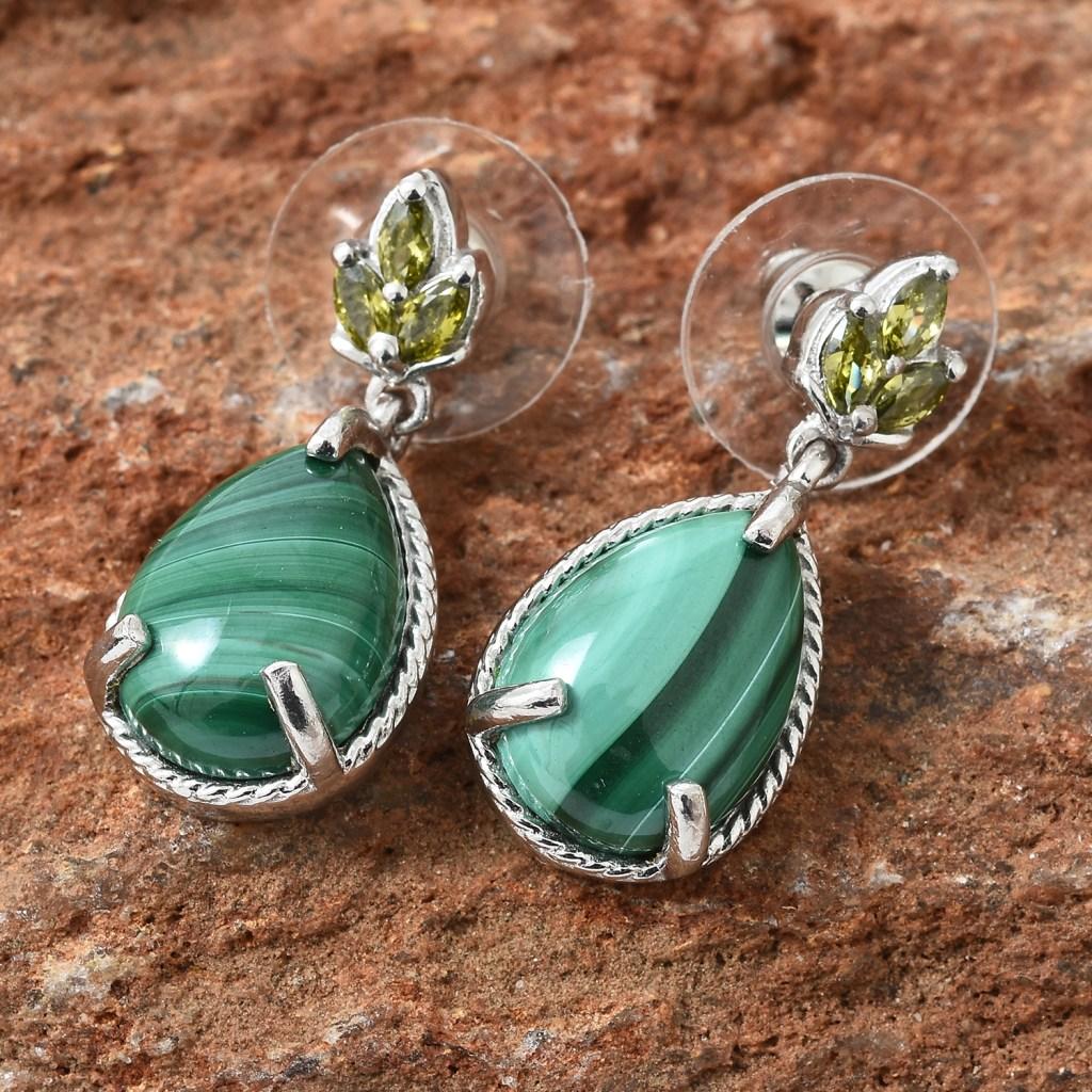 Malachite drop earring