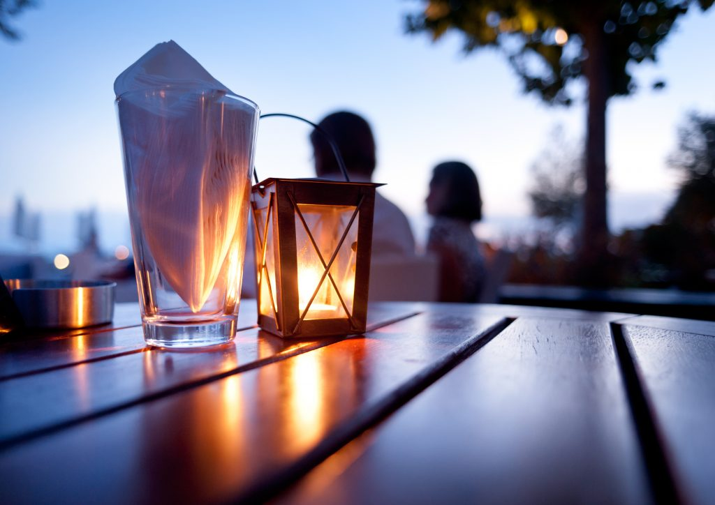 Romantic outdoor table setting.