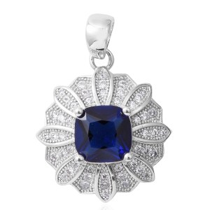 Floral-inspired blue sapphire pendant.