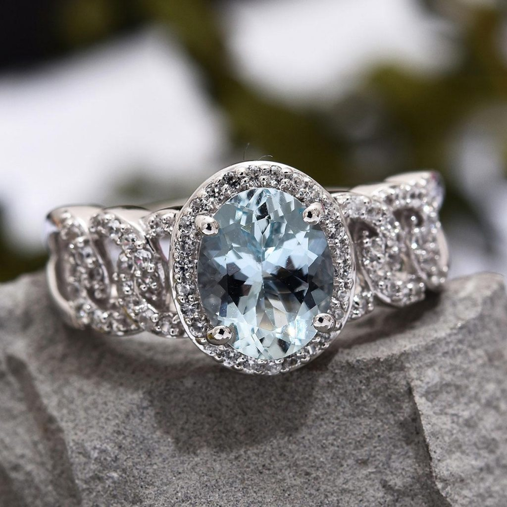 Premium Espirito Santo Aquamarine, Zircon Ring in Platinum Over Sterling Silver
