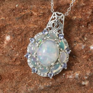 Welo opal pendant displaying play-of-color effect.