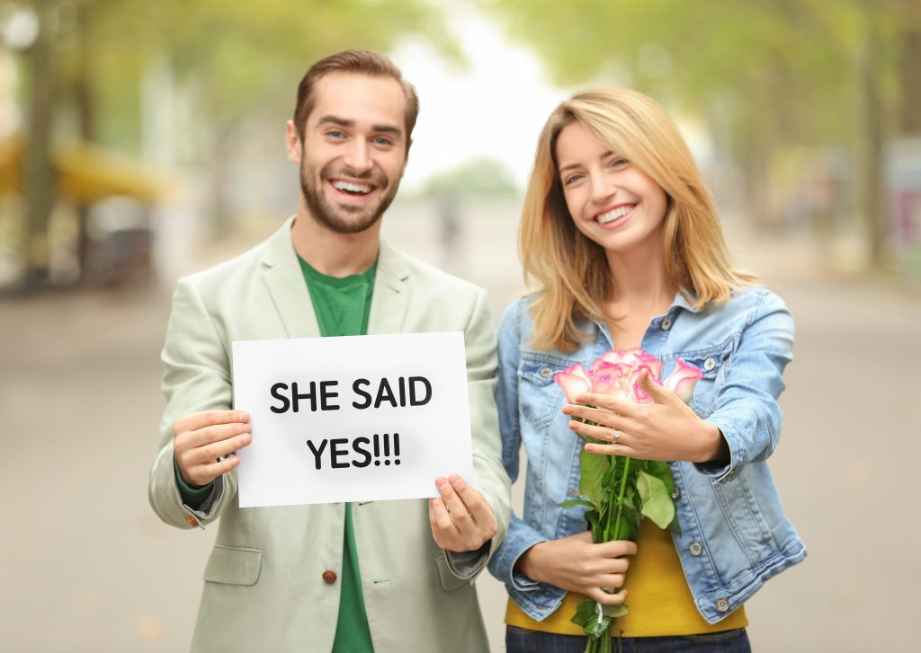 Couple celebrating their engagement.