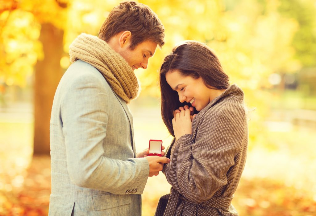 Man proposing to fiance at scene of first date.