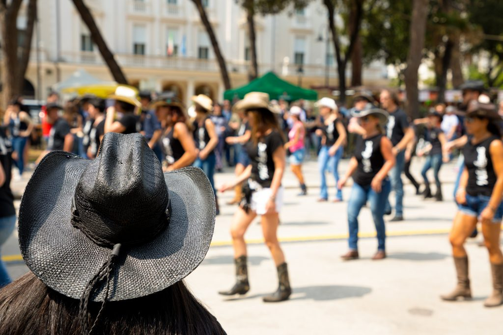 Western-themed flash mob.