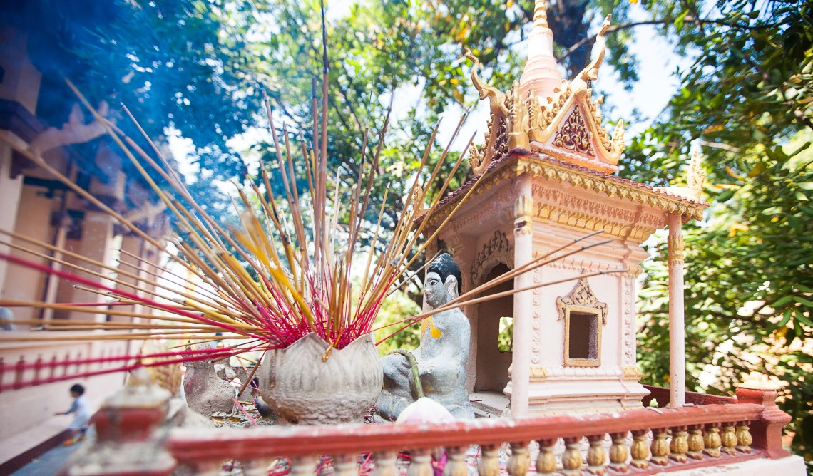 Traditional offerings at a Cambodian temple.