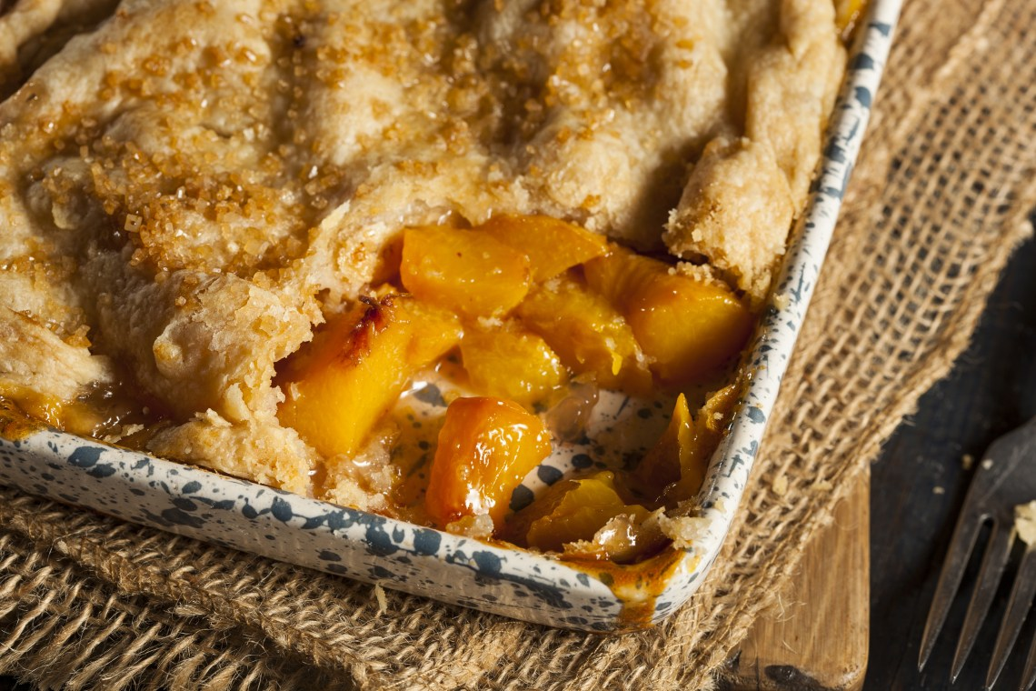 Piping hot and freshly made peach cobbler. Yum!