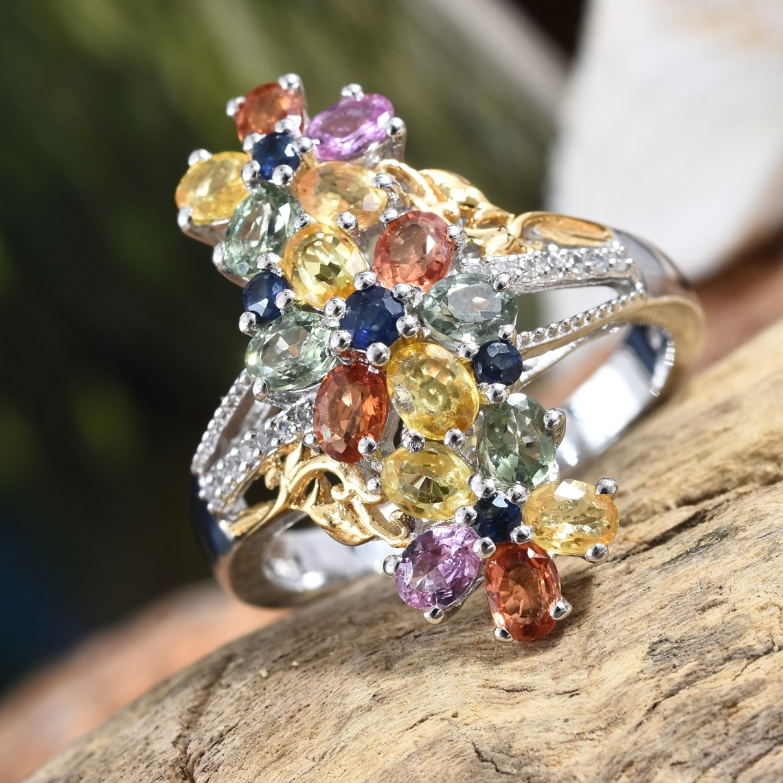 Multi color sapphire ring in cluster style.