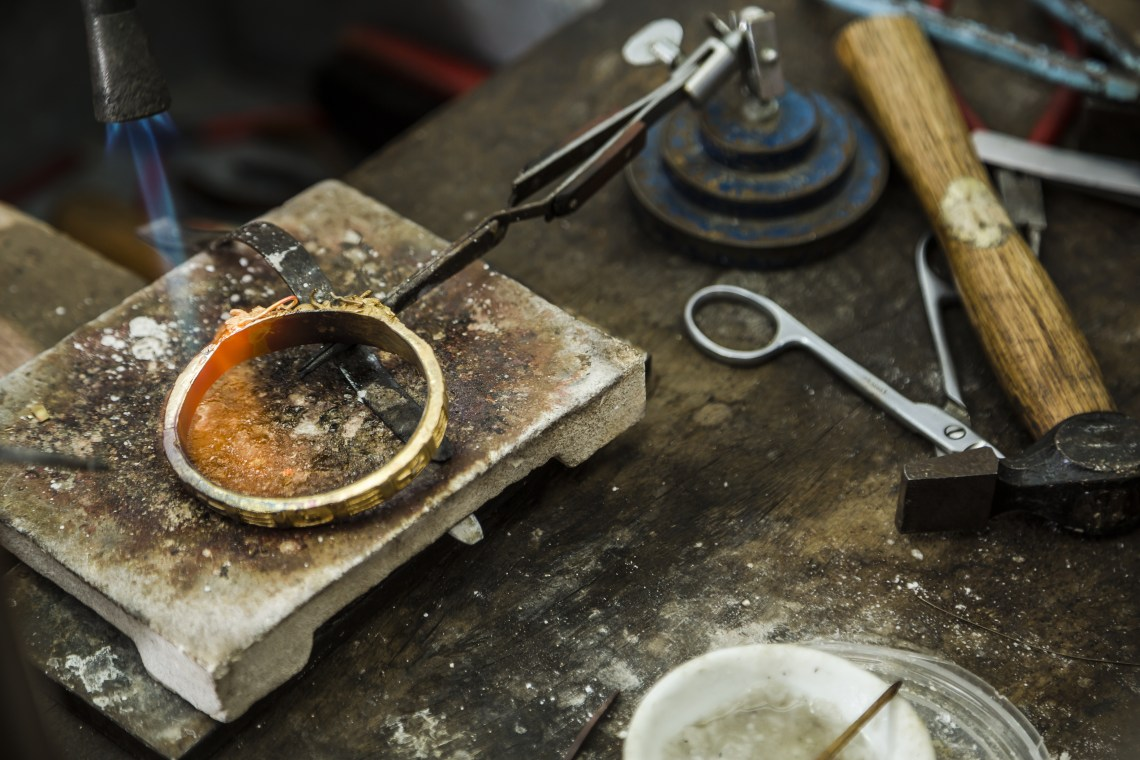 Resizing a gold ring.