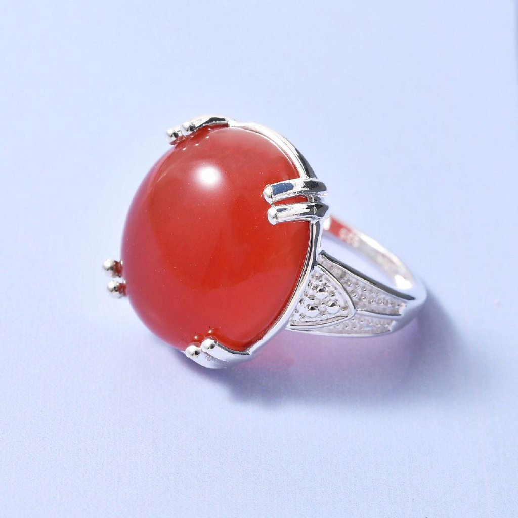 Red agate ring in sterling silver.