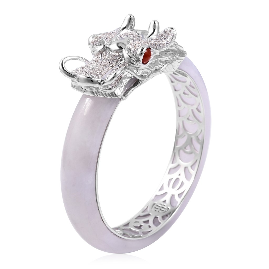 White and red jade dragon ring.