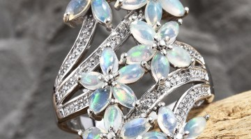 Ethiopian Welo Opal floral ring.