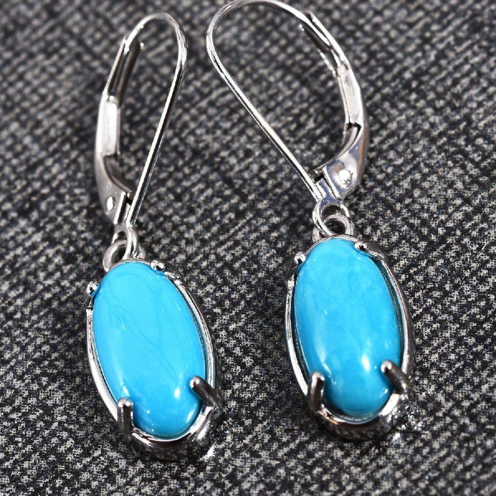 ILIANA AAA Premium Arizona Sleeping Beauty Turquoise Lever Back Earrings in 18K White Gold