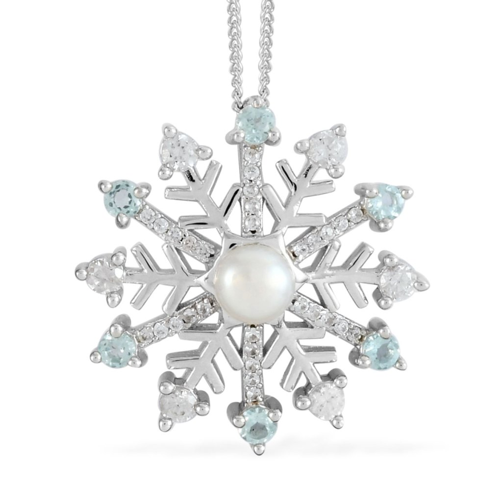 Freshwater cultured pearl snowflake pendant in sterling silver.