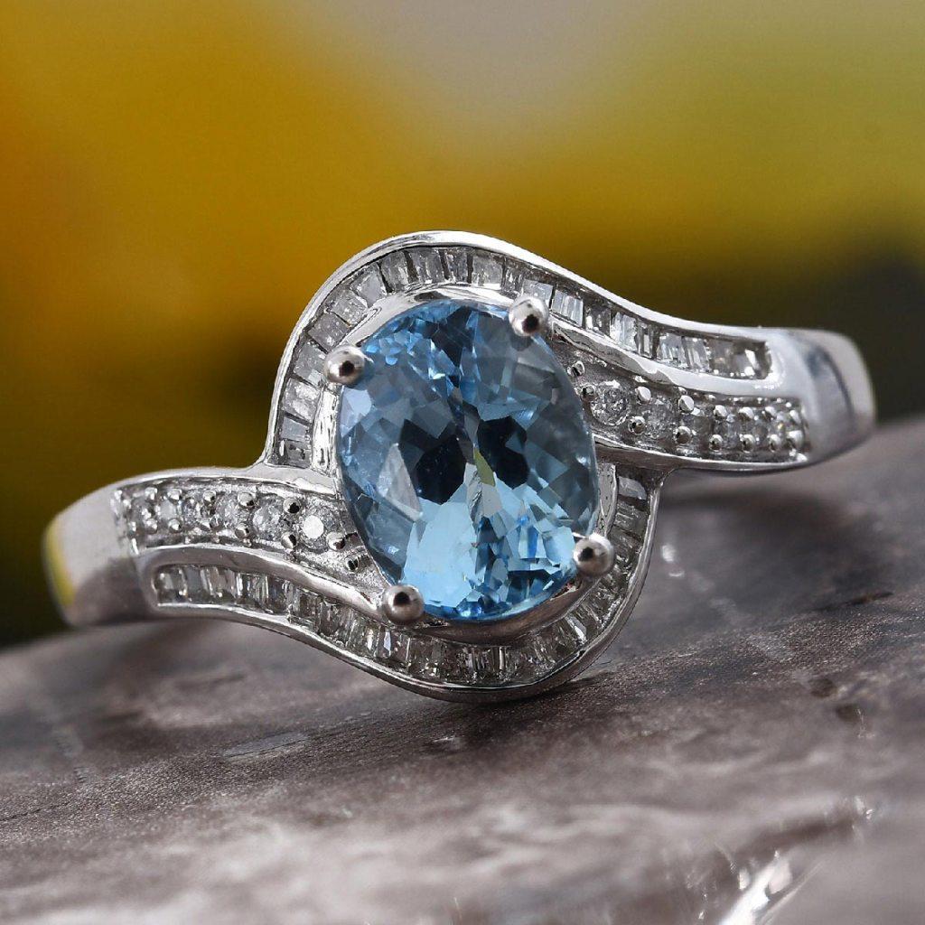 Santa Maria Aquamarine, Diamond Ring in 14K White Gold