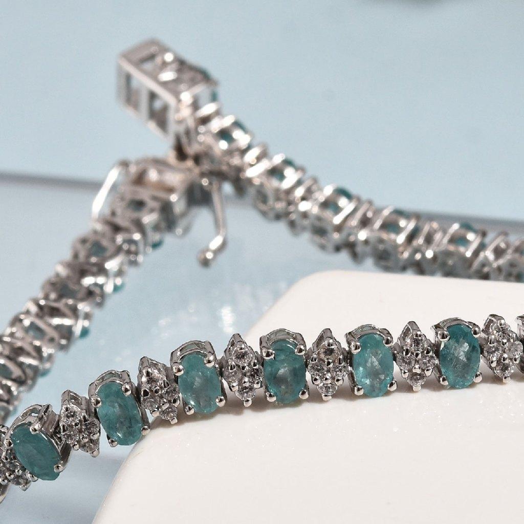 Grandidierite, Zircon Bracelet in Platinum Over Sterling Silver