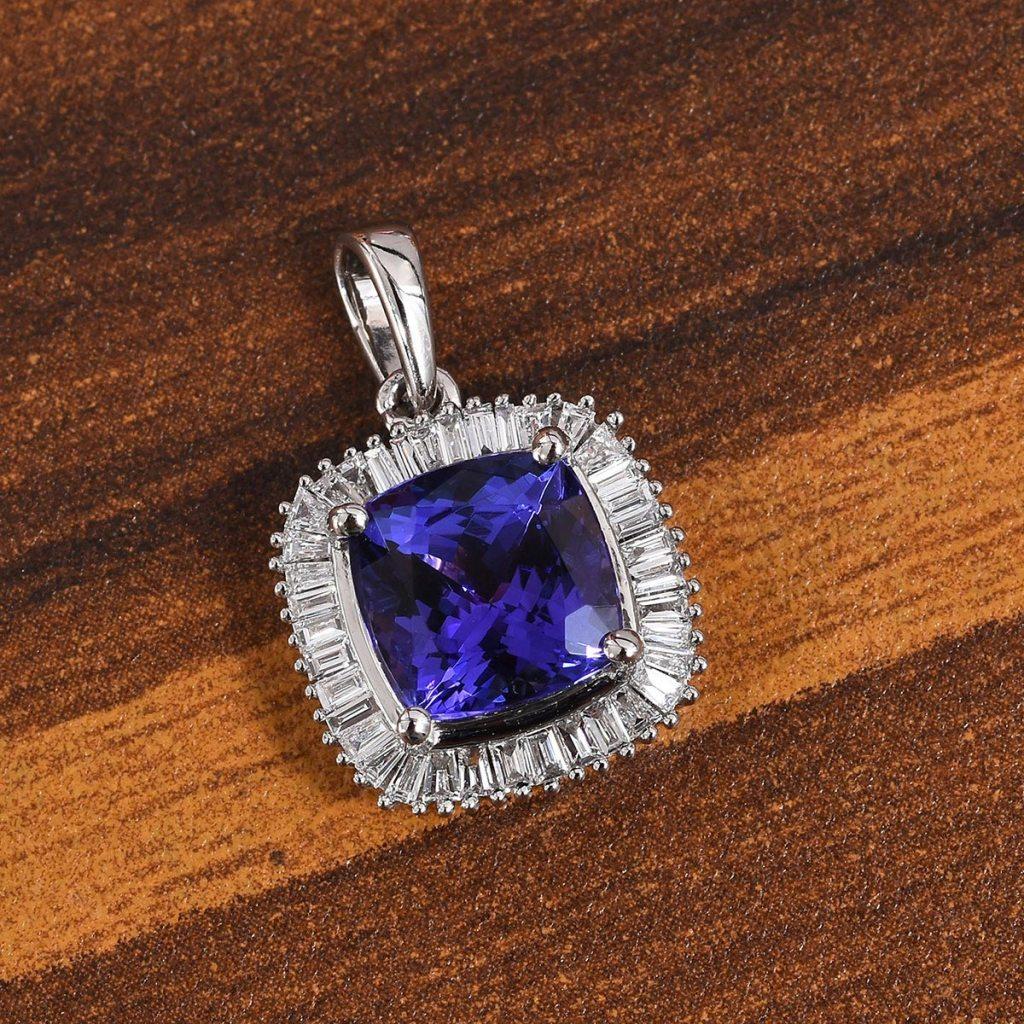 RHAPSODY AAAA Premium Tanzanite, Diamond Pendant