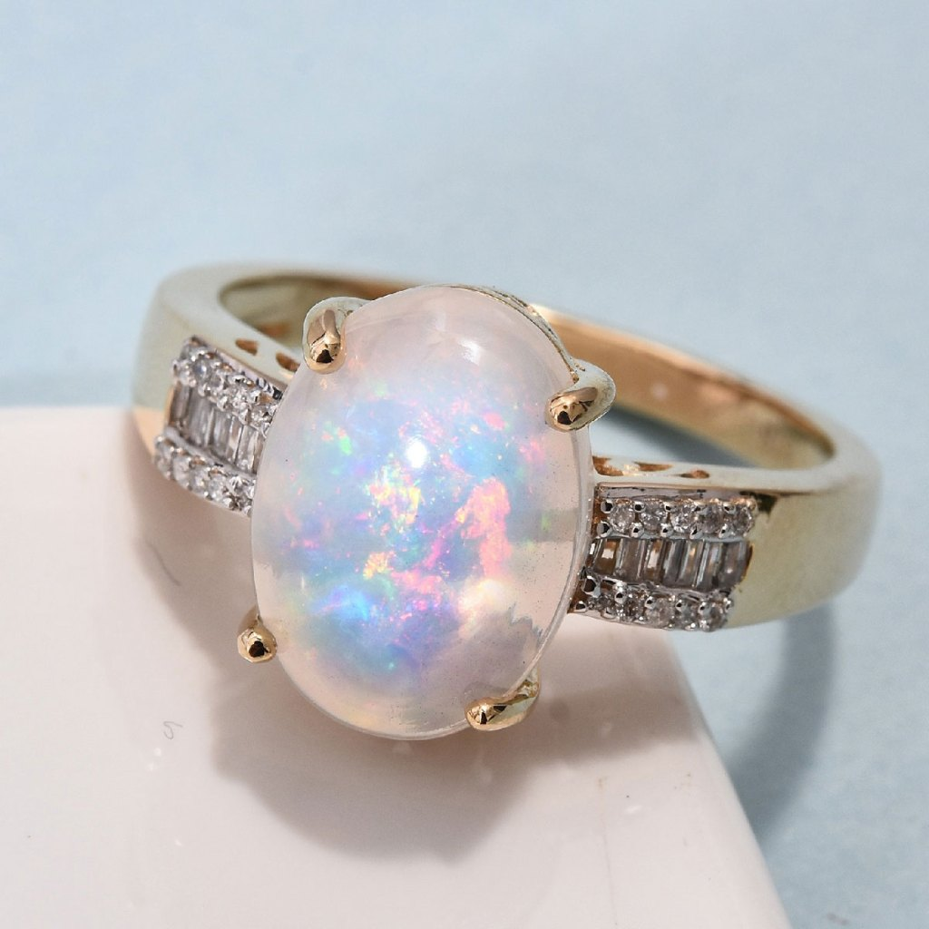 Ethiopian Welo Opal and Diamond Ring in 14K Yellow Gold