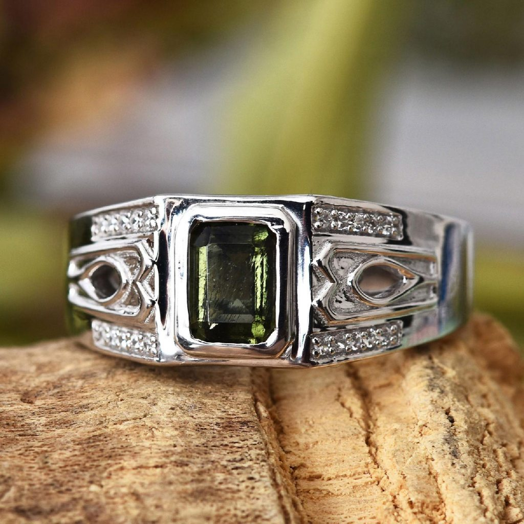 Bohemian Moldavite and Zircon Men's Ring in Platinum Over Sterling Silver