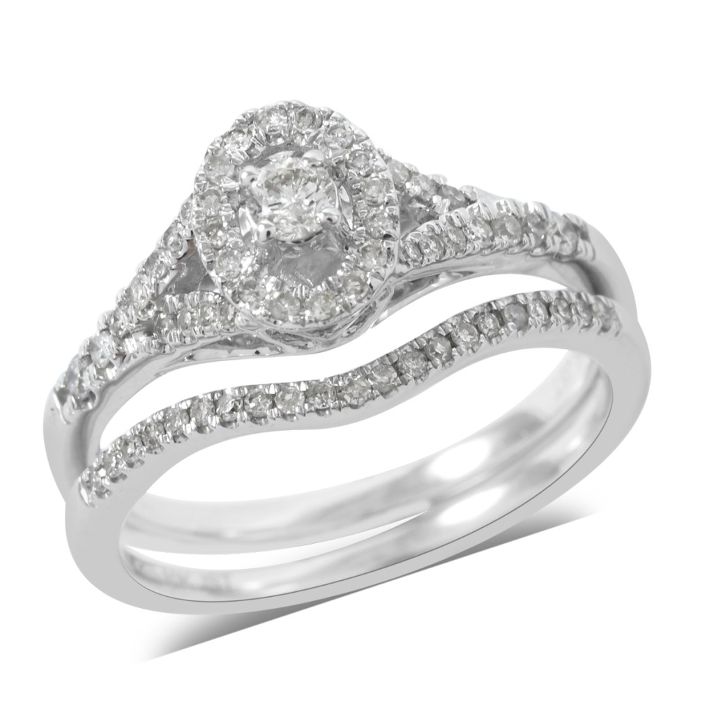 Diamond halo ring with accent ring.