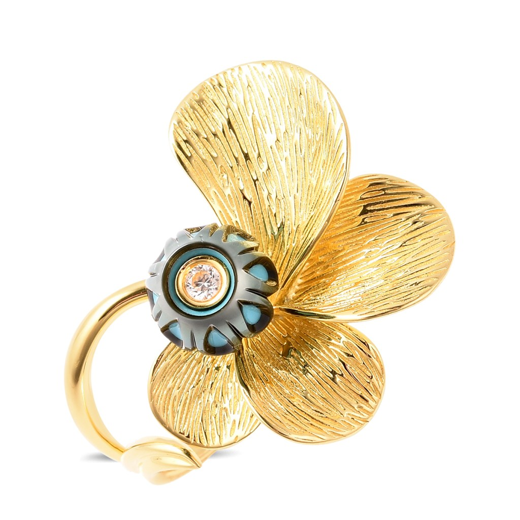 Galatea: Jewelry by Artist carved pearl floral ring.