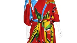 Red Bali kaftan with a belt.