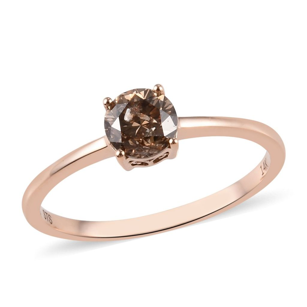 Champagne diamond ring in 14K rose gold.