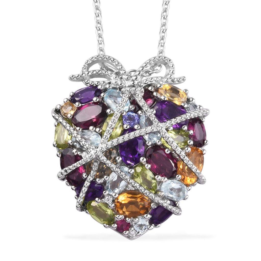 GP Collection multi-gem heart pendant.