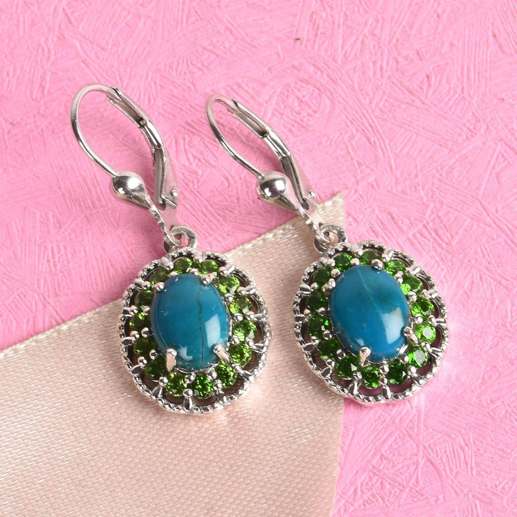 Opalina earrings in sterling silver with chrome diopside accents.