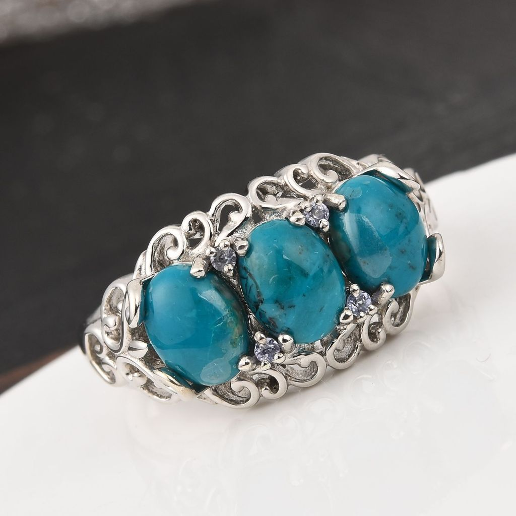 Three-stone opalina ring in sterling silver.