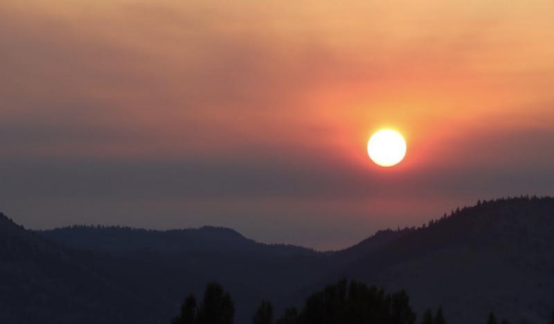 A smoky sunrise in Southwester Oregon.