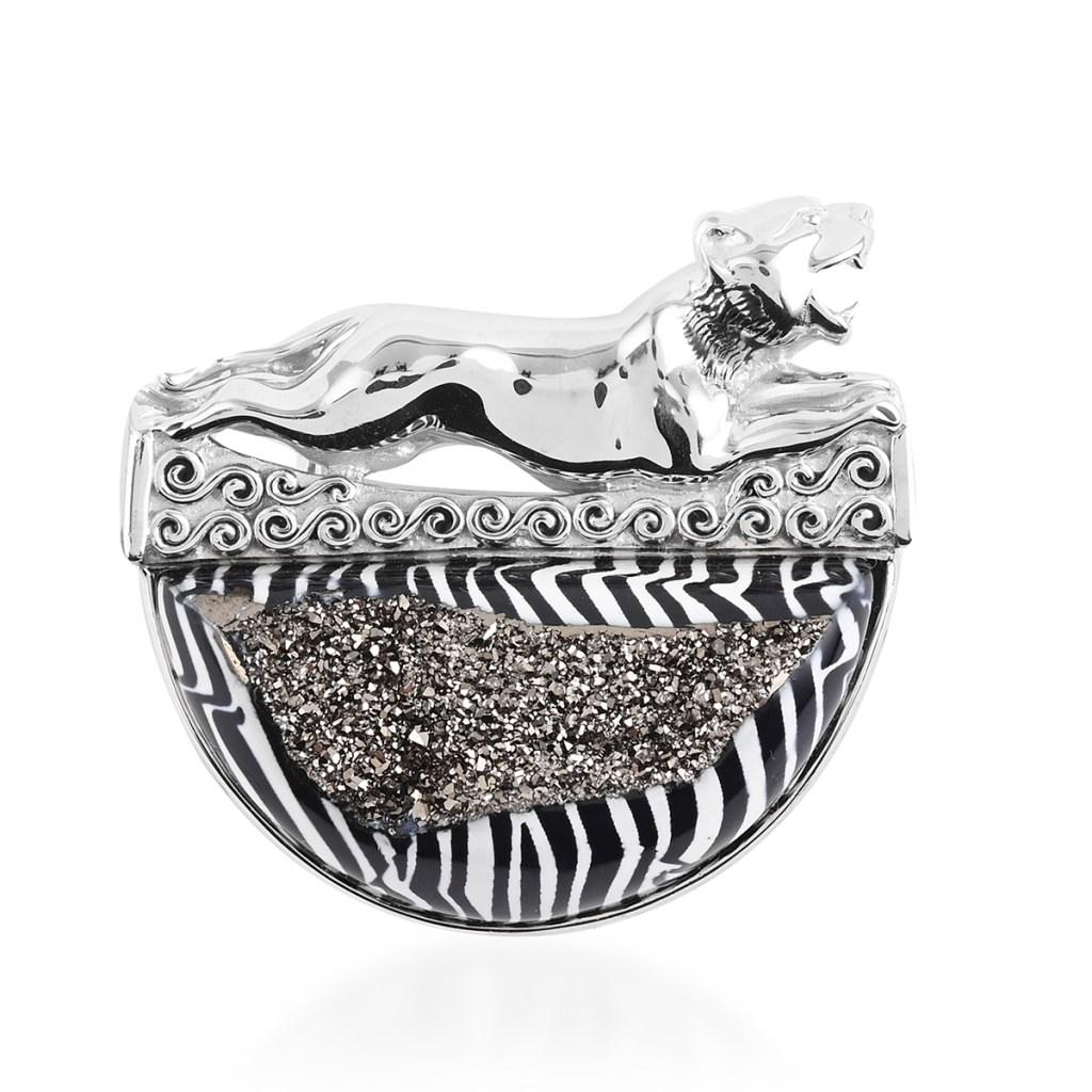 Sajen Silver leopard pendant in sterling silver.