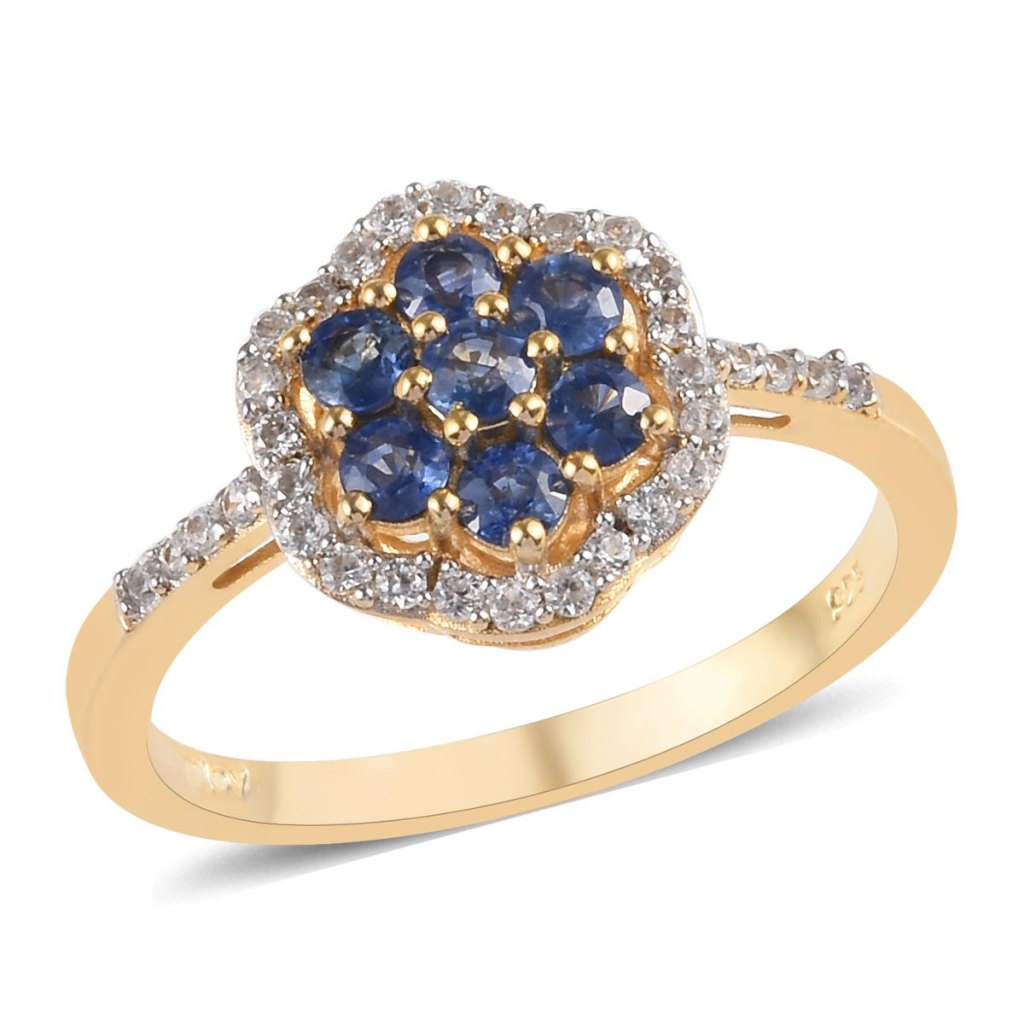 Sapphire cluster ring in 10K yellow gold vermeil.