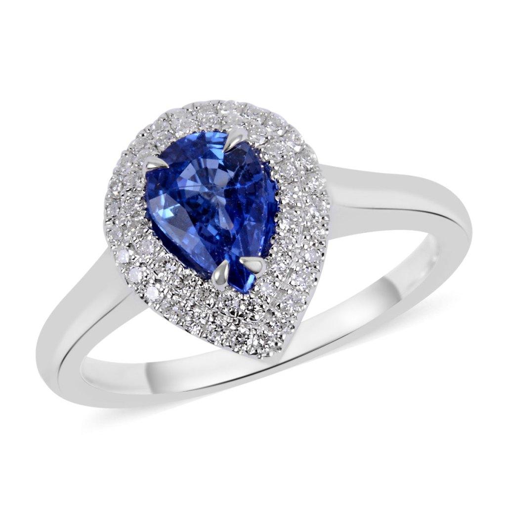 Ceylon sapphire ring in 18K white gold.