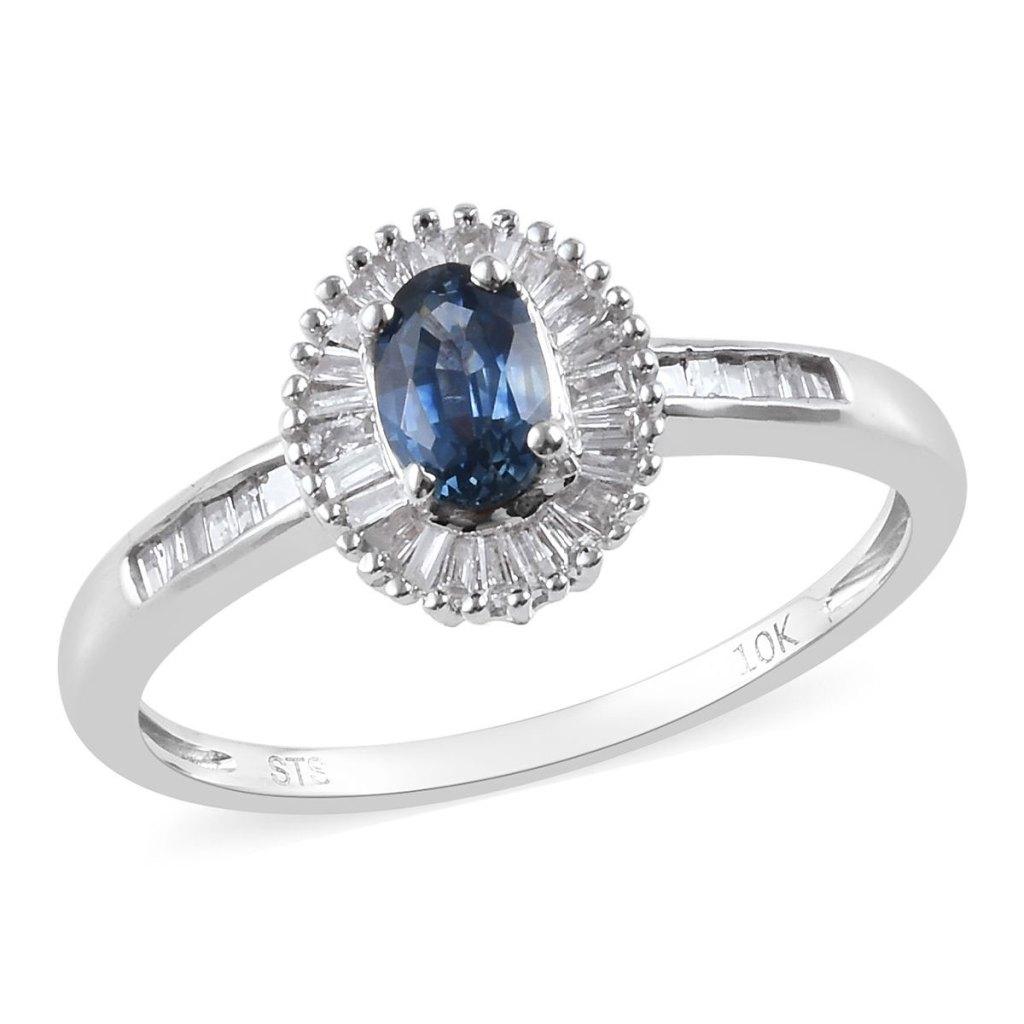 Sapphire diamond ring in 10K white gold.