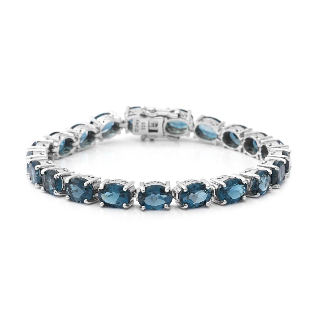 London Blue Topaz tennis bracelet in sterling silver.