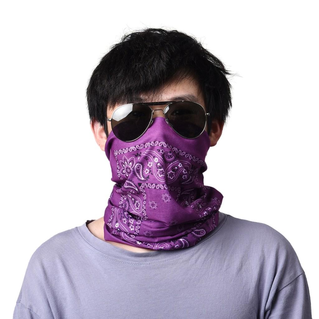 Purple Paisley & Tropical Leaf Tube Scarf Mask.
