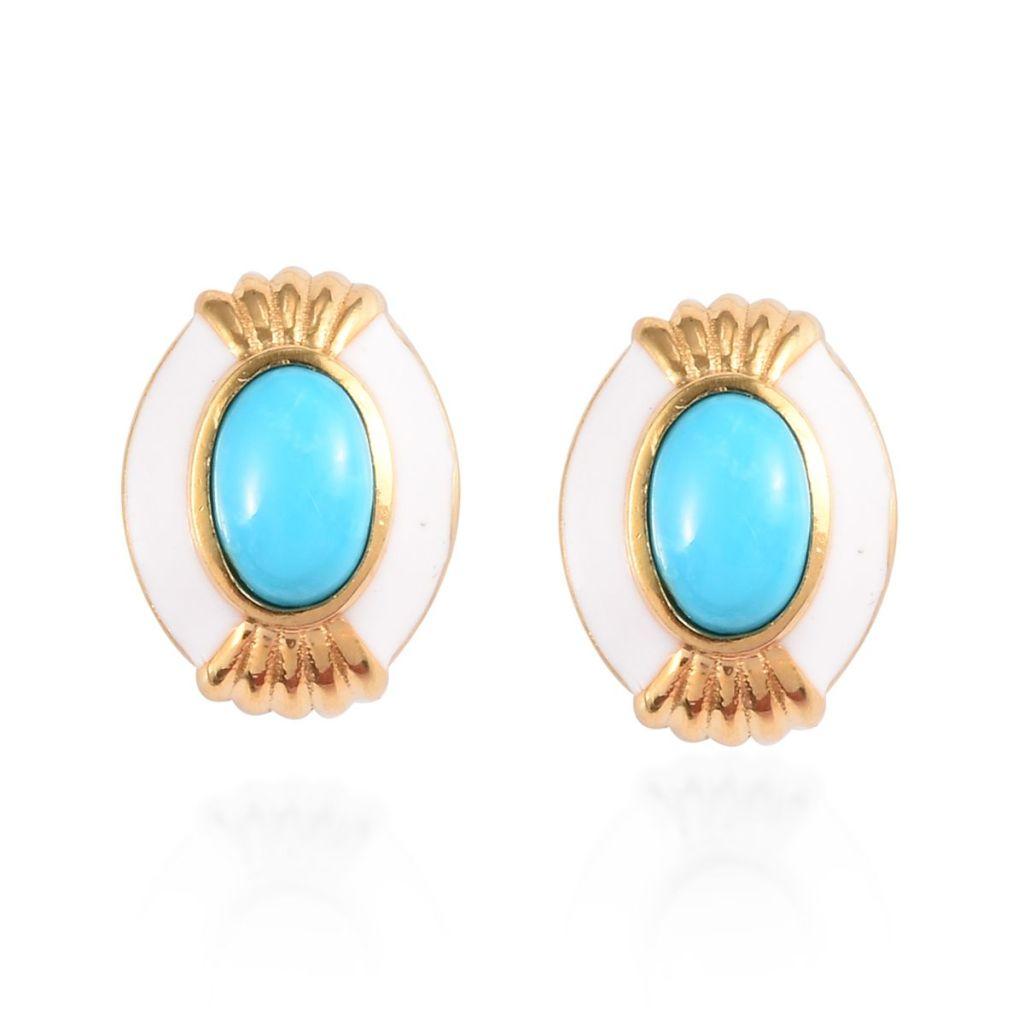 Blue statement earrings.